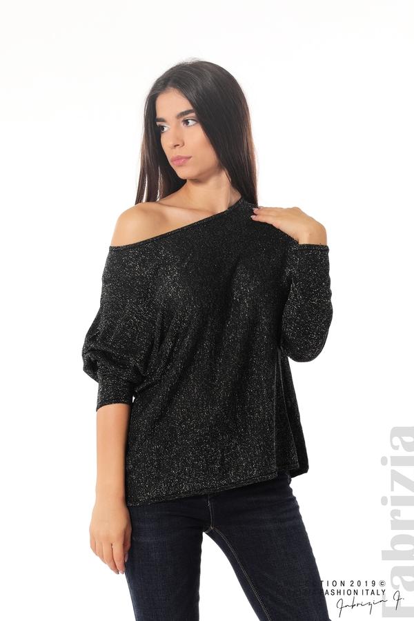 Изчистена блуза с ламе черен 1 fabrizia
