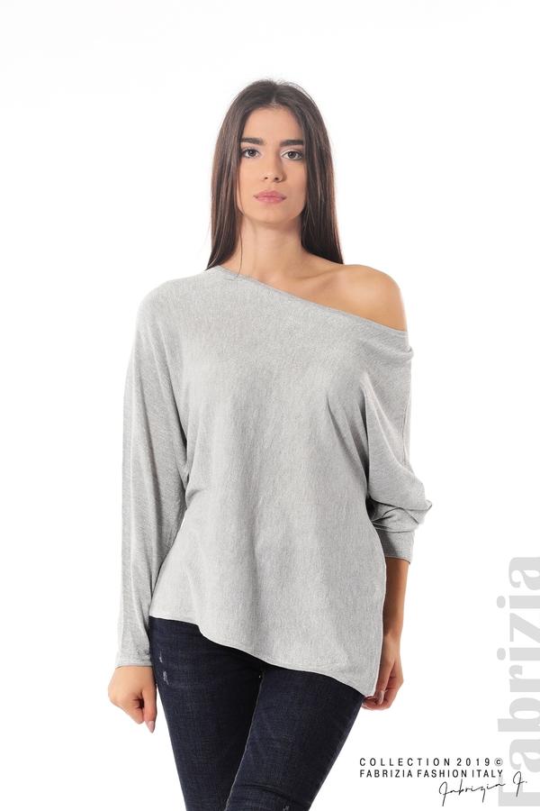 Изчистена блуза с ламе сив 1 fabrizia