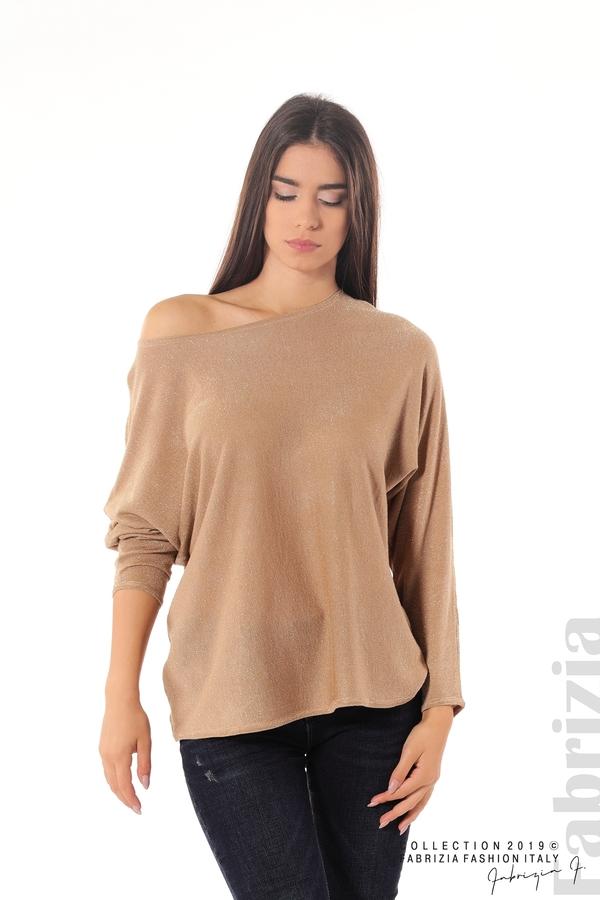 Изчистена блуза с ламе св.кафяв 1 fabrizia