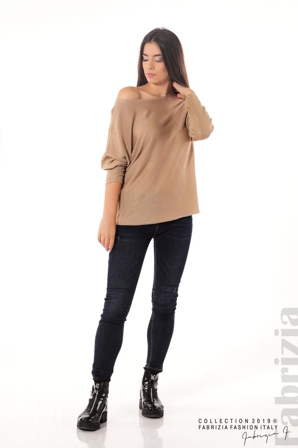 Изчистена блуза с ламе св.кафяв 2 fabrizia