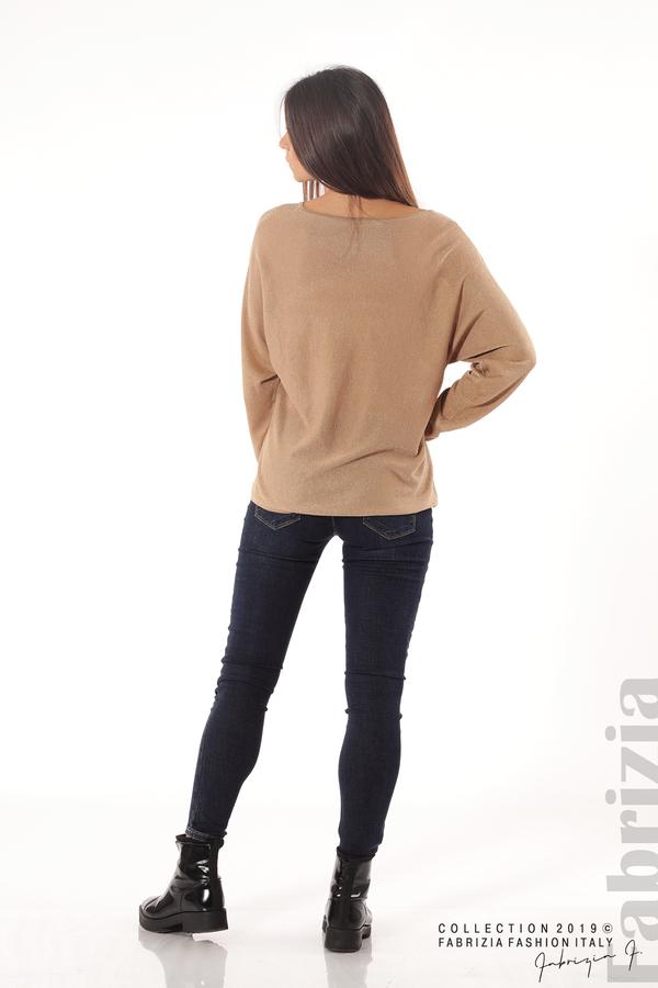 Изчистена блуза с ламе св.кафяв 4 fabrizia