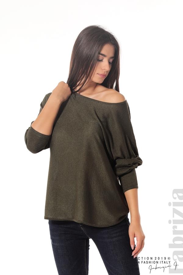 Изчистена блуза с ламе каки 1 fabrizia