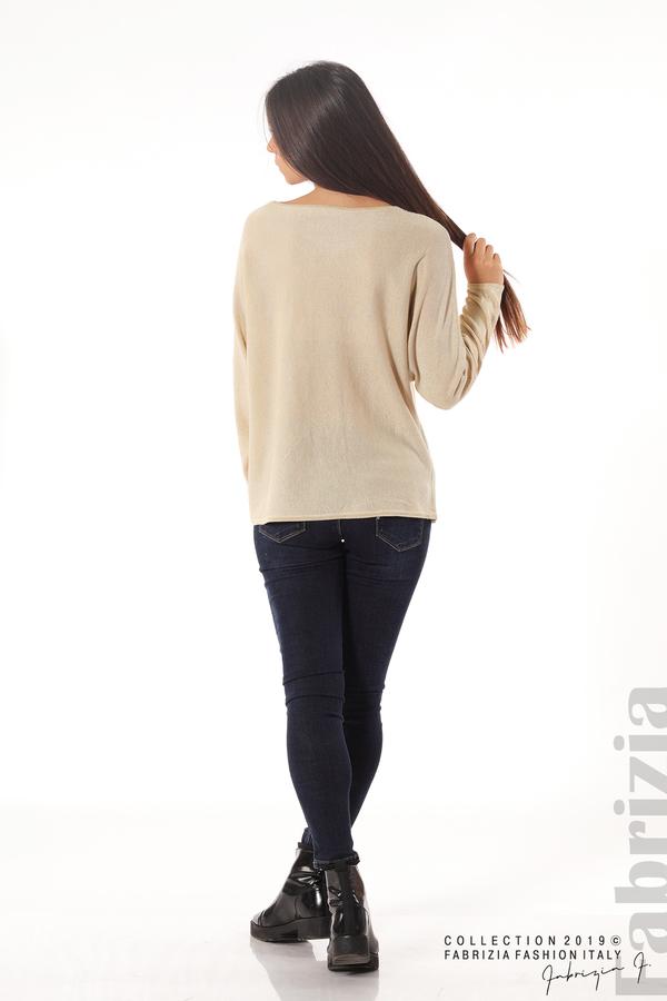 Изчистена блуза с ламе бежов 4 fabrizia