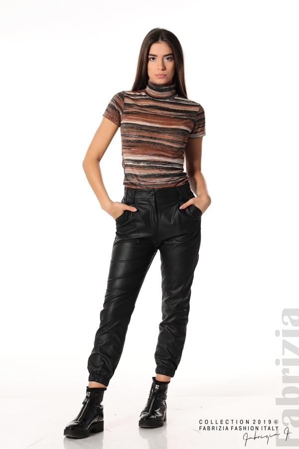 Кожен дамски панталон черен 1 fabrizia
