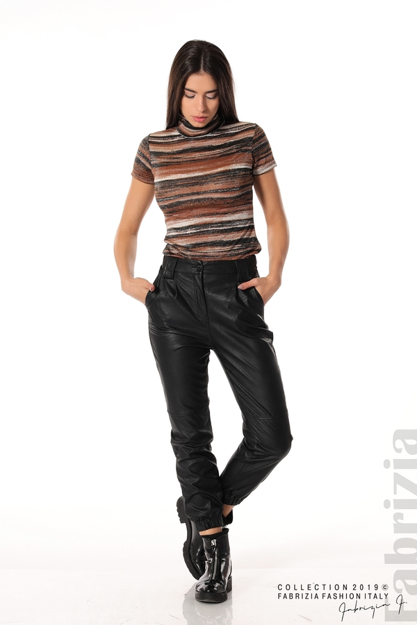 Кожен дамски панталон черен 2 fabrizia