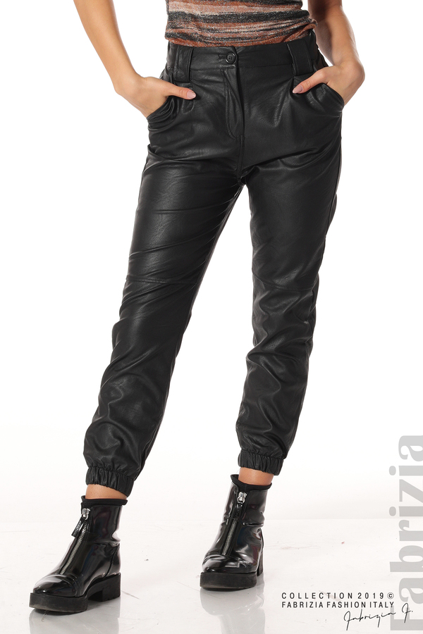 Кожен дамски панталон черен 3 fabrizia