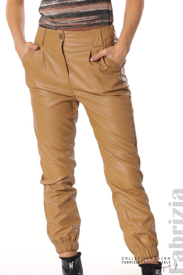 Кожен дамски панталон камел 3 fabrizia
