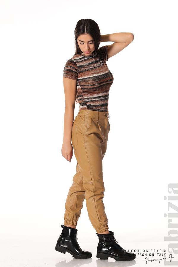 Кожен дамски панталон камел 2 fabrizia