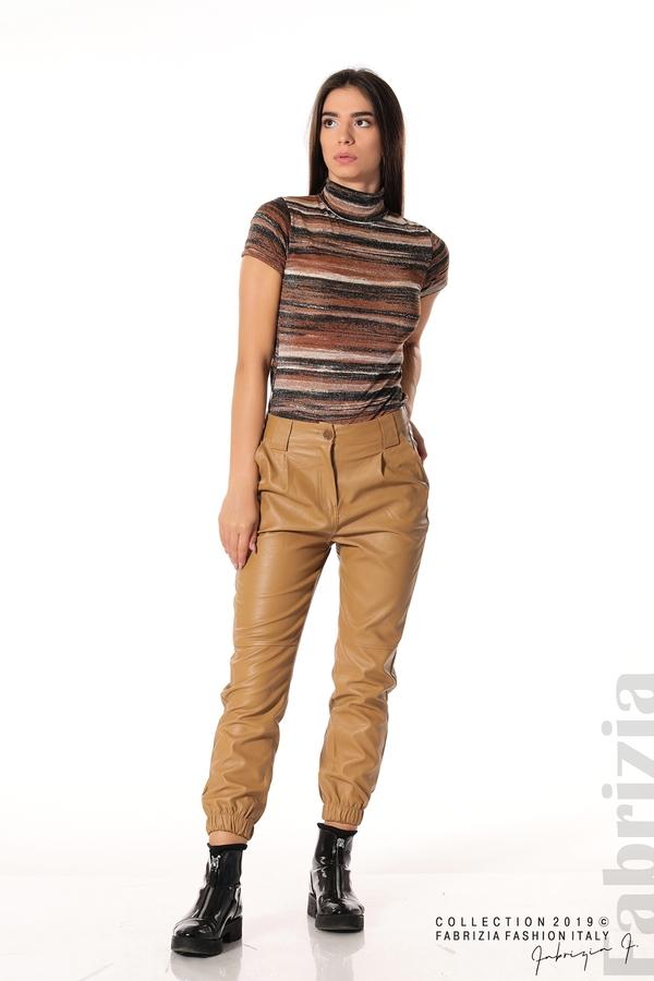 Кожен дамски панталон камел 4 fabrizia