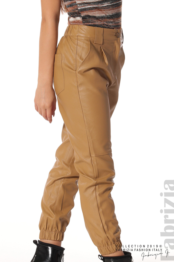 Кожен дамски панталон камел 5  fabrizia