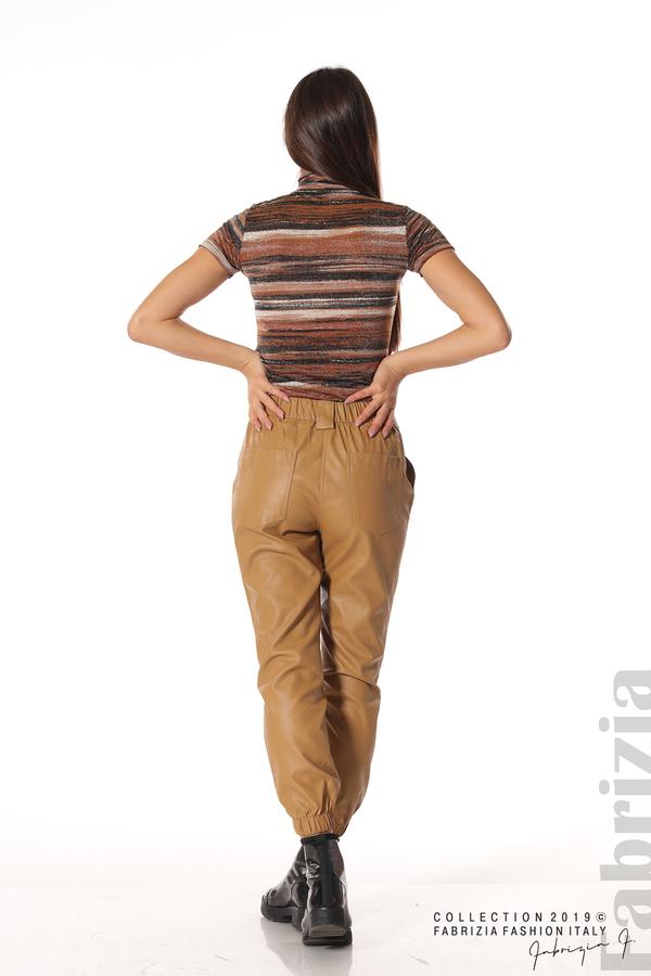 Кожен дамски панталон камел 6 fabrizia