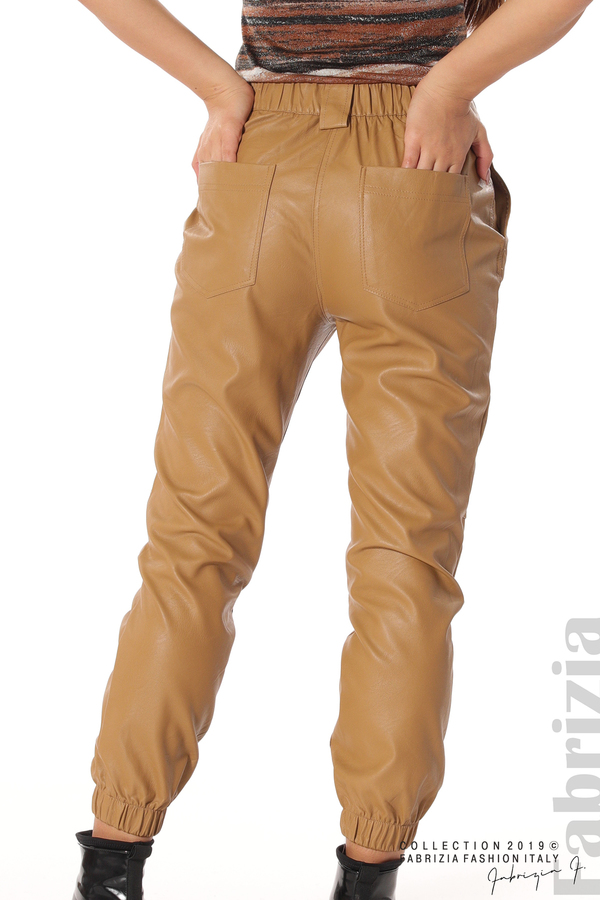 Кожен дамски панталон камел 7 fabrizia