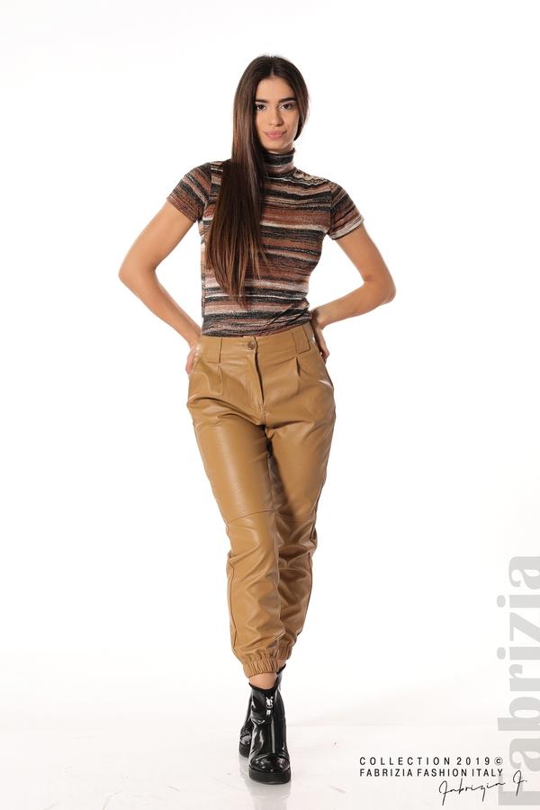 Кожен дамски панталон камел 1 fabrizia