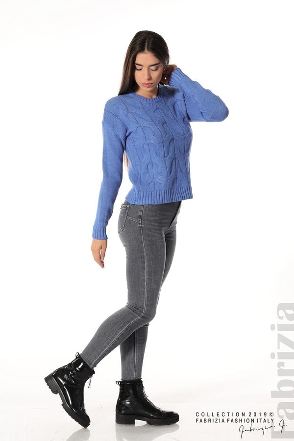 Дамска плетена блуза син 2 fabrizia