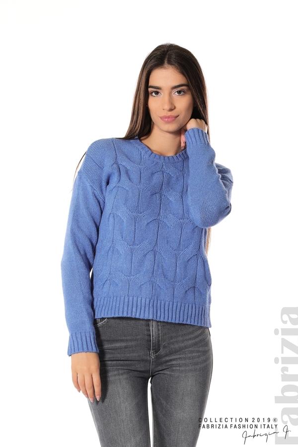 Дамска плетена блуза син 1 fabrizia
