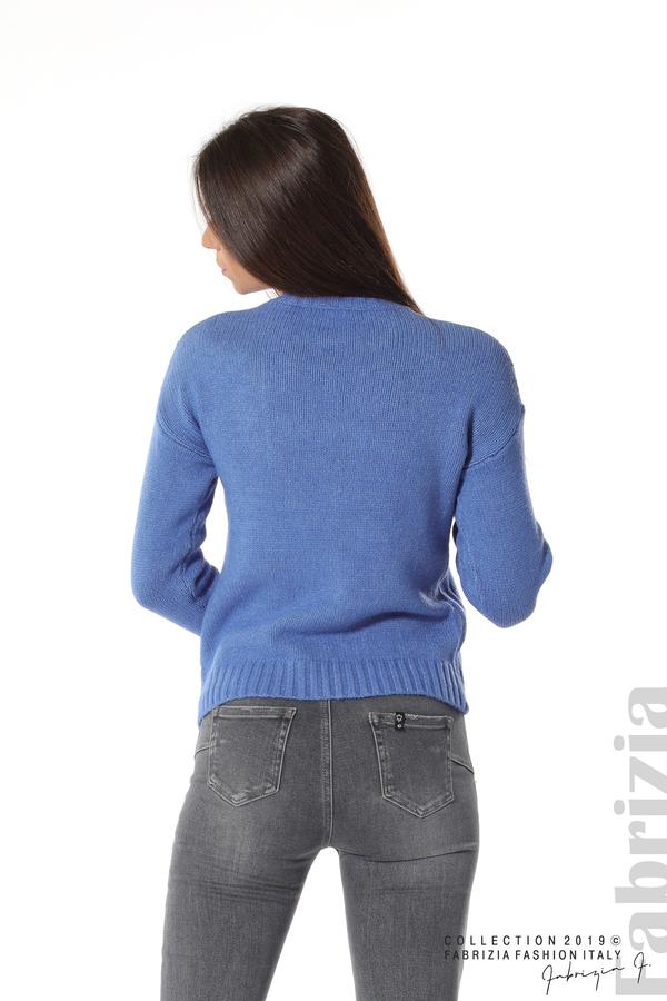 Дамска плетена блуза син 4 fabrizia