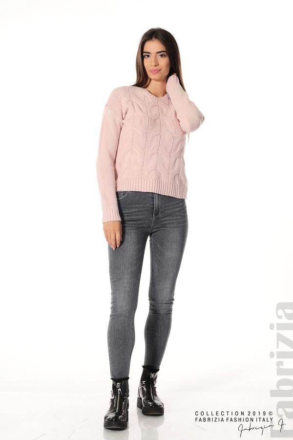 Дамска плетена блуза розов 3 fabrizia