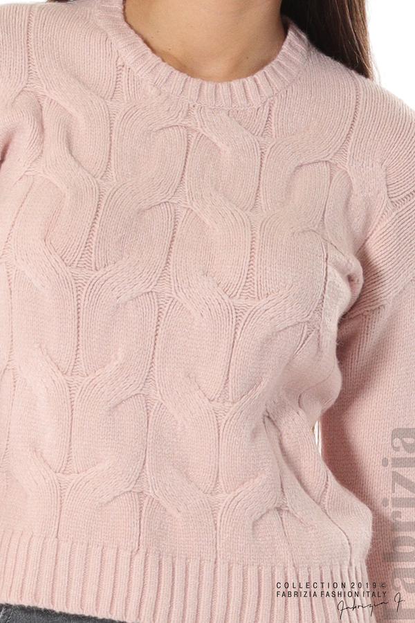 Дамска плетена блуза розов 4 fabrizia