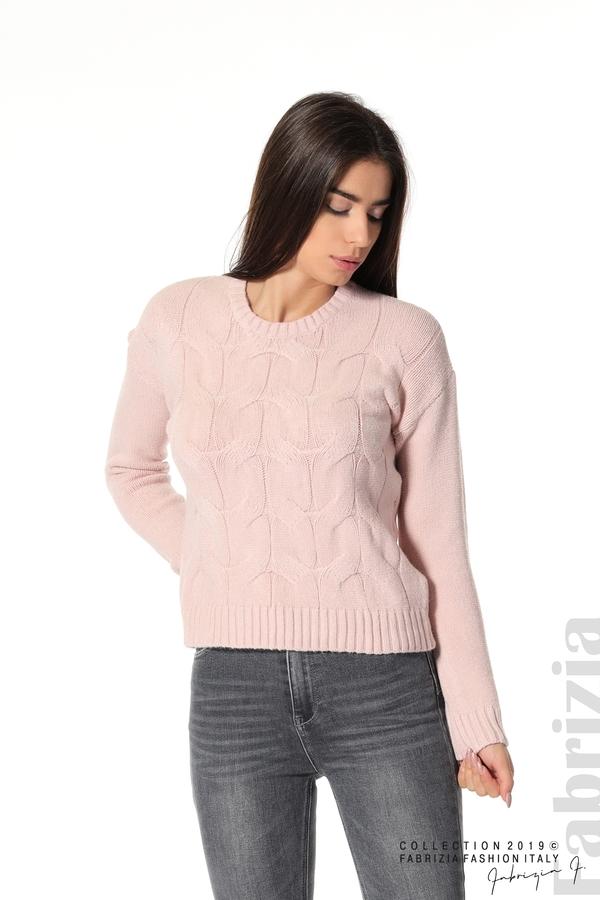 Дамска плетена блуза розов 1 fabrizia