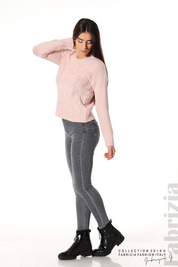 Дамска плетена блуза розов 2 fabrizia