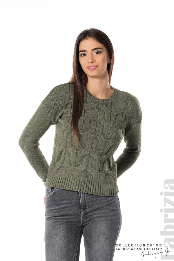 Дамска плетена блуза каки 1 fabrizia