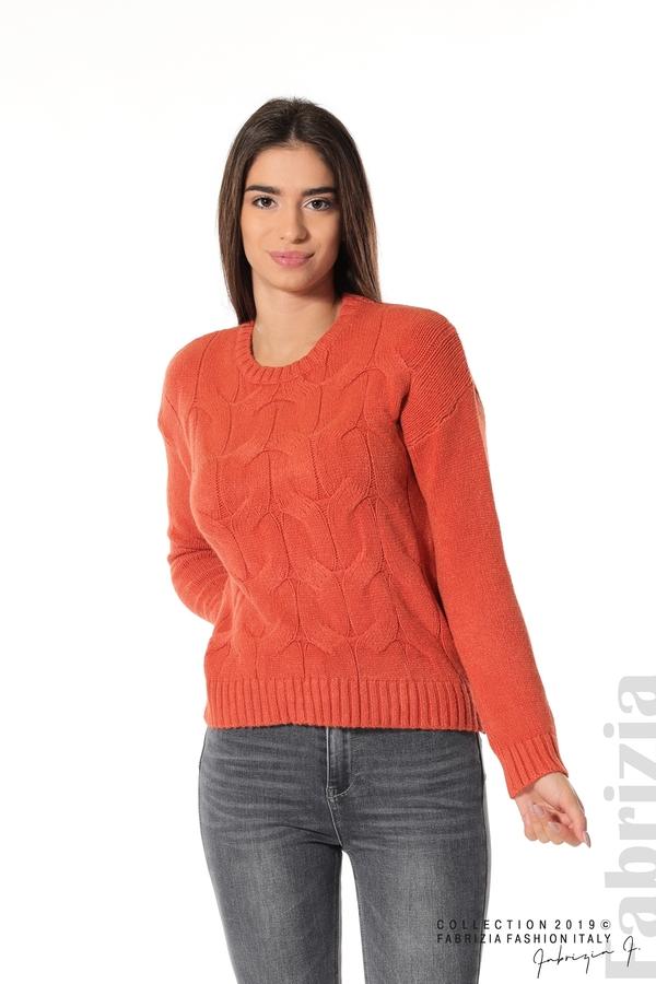 Дамска плетена блуза т.оранж 1 fabrizia