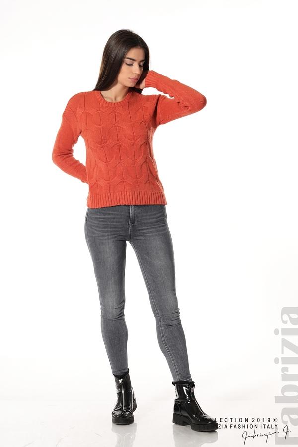 Дамска плетена блуза т.оранж 2 fabrizia