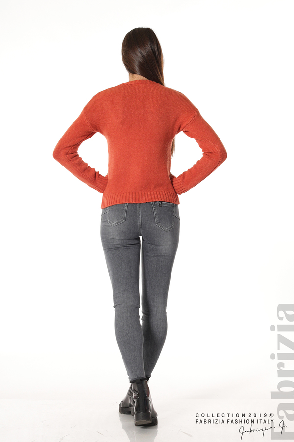 Дамска плетена блуза т.оранж 4 fabrizia