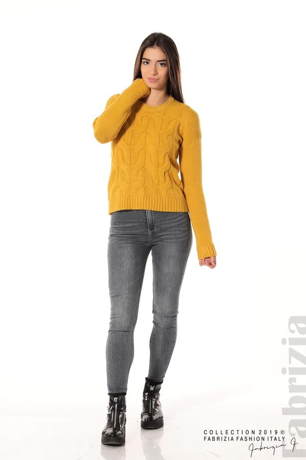 Дамска плетена блуза горчица 2 fabrizia