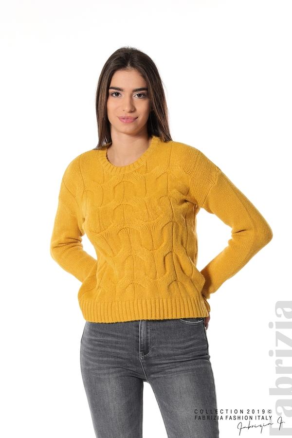 Дамска плетена блуза горчица 1 fabrizia