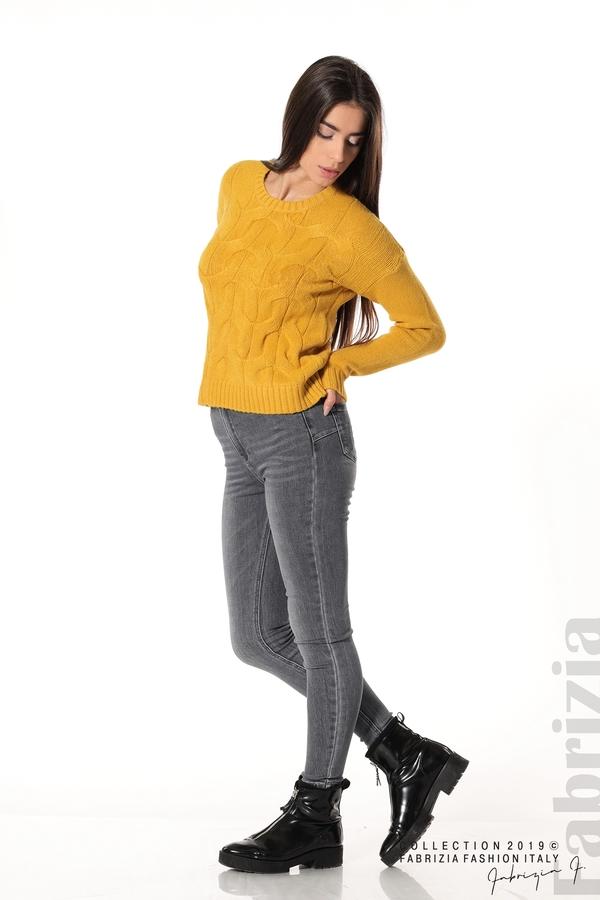 Дамска плетена блуза горчица 3 fabrizia