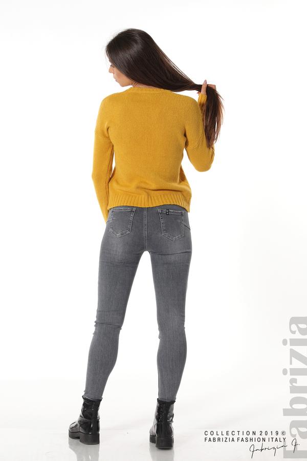 Дамска плетена блуза горчица 4 fabrizia