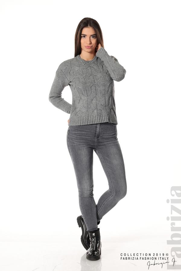 Дамска плетена блуза сив 2 fabrizia