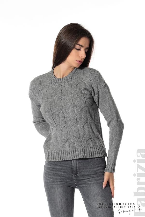 Дамска плетена блуза сив 1 fabrizia