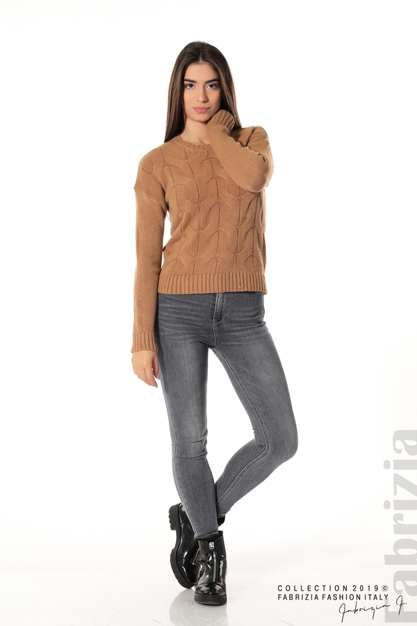 Дамска плетена блуза кафяв 2 fabrizia