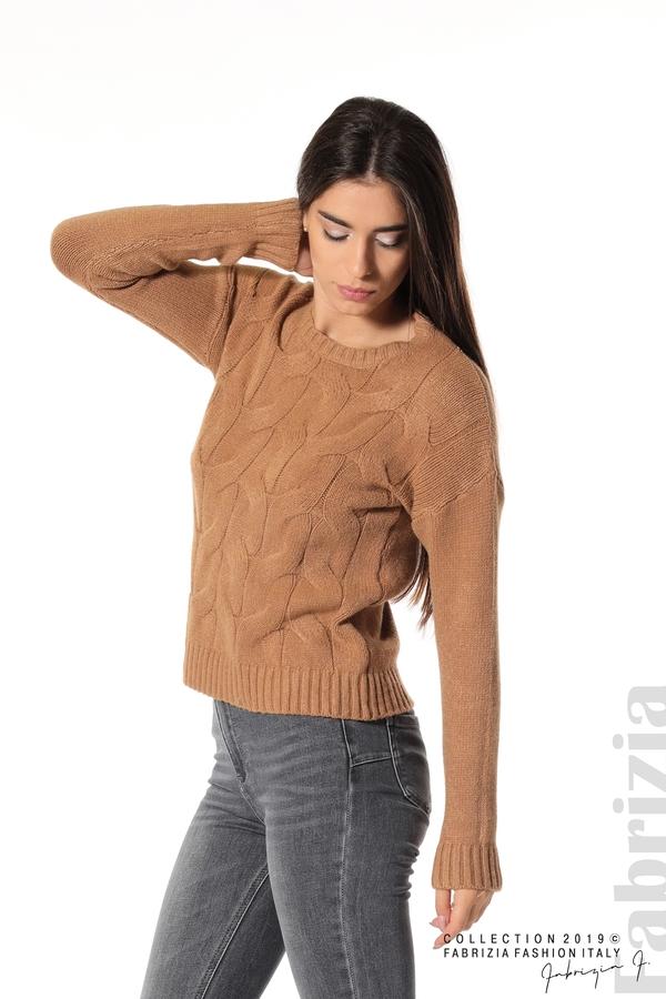 Дамска плетена блуза кафяв 1 fabrizia