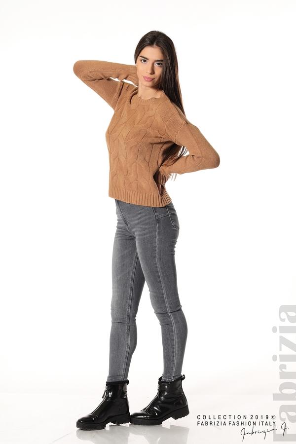 Дамска плетена блуза кафяв 3 fabrizia