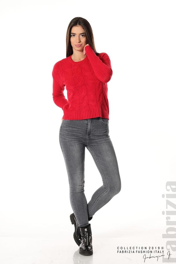 Дамска плетена блуза червен 1 fabrizia