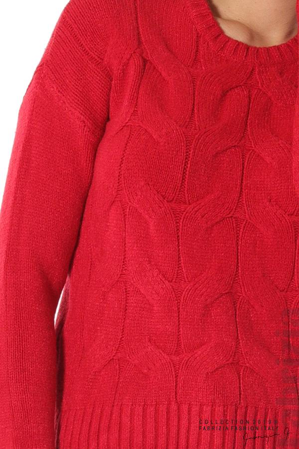 Дамска плетена блуза червен 3 fabrizia