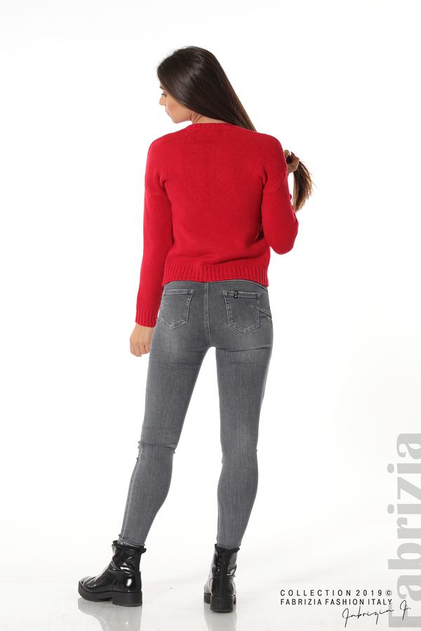 Дамска плетена блуза червен 4 fabrizia
