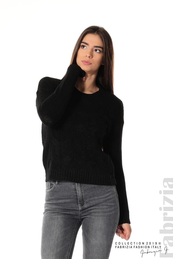 Дамска плетена блуза черен 1 fabrizia