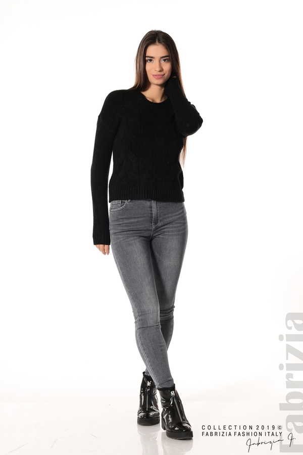 Дамска плетена блуза черен 2 fabrizia