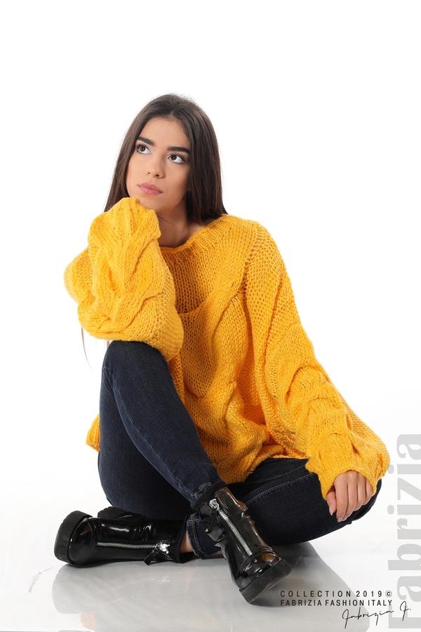 Дамски плетен пуловер т.жълт 1 fabrizia