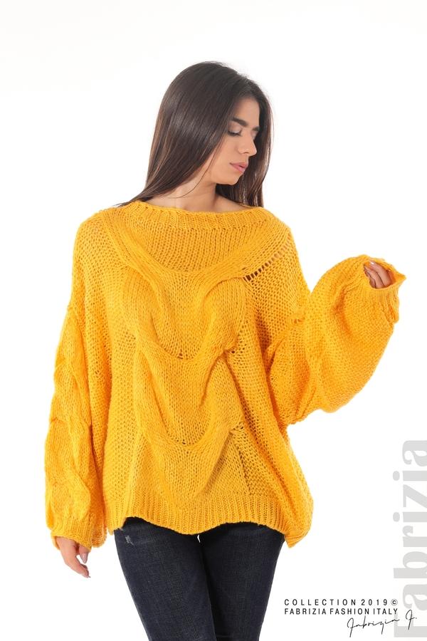 Дамски плетен пуловер т.жълт 4 fabrizia