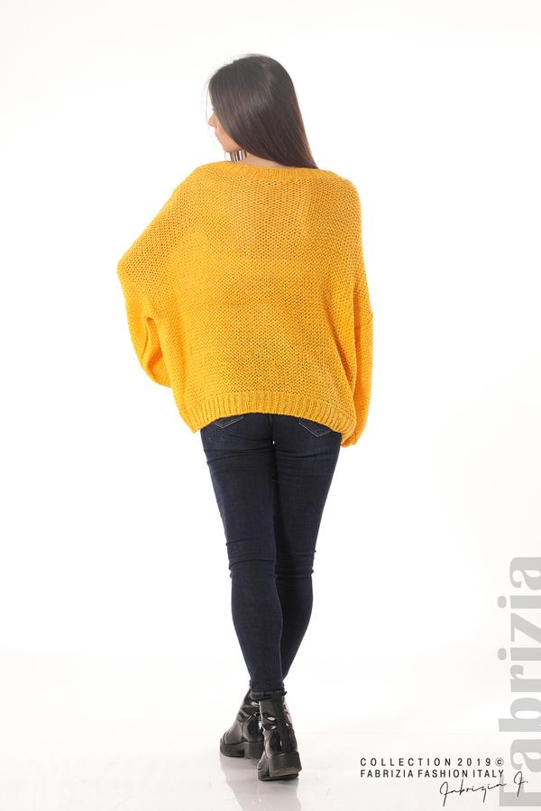 Дамски плетен пуловер т.жълт 5 fabrizia
