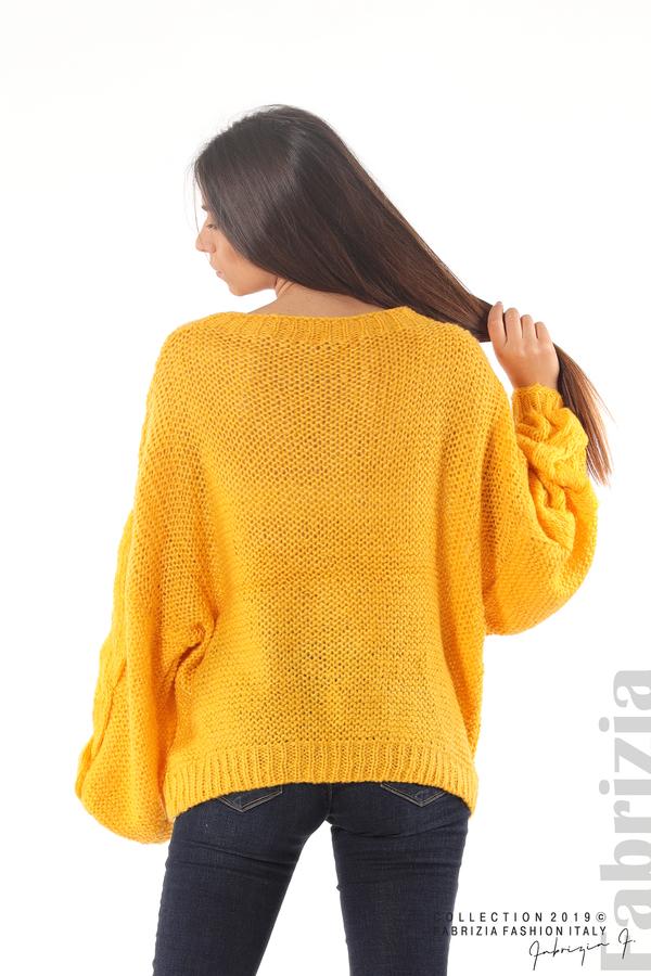 Дамски плетен пуловер т.жълт 6 fabrizia