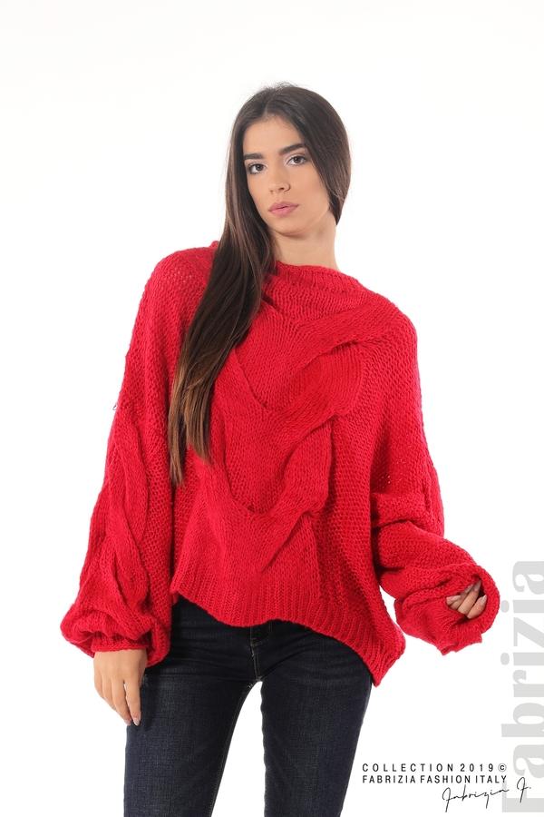 Дамски плетен пуловер червен 2 fabrizia