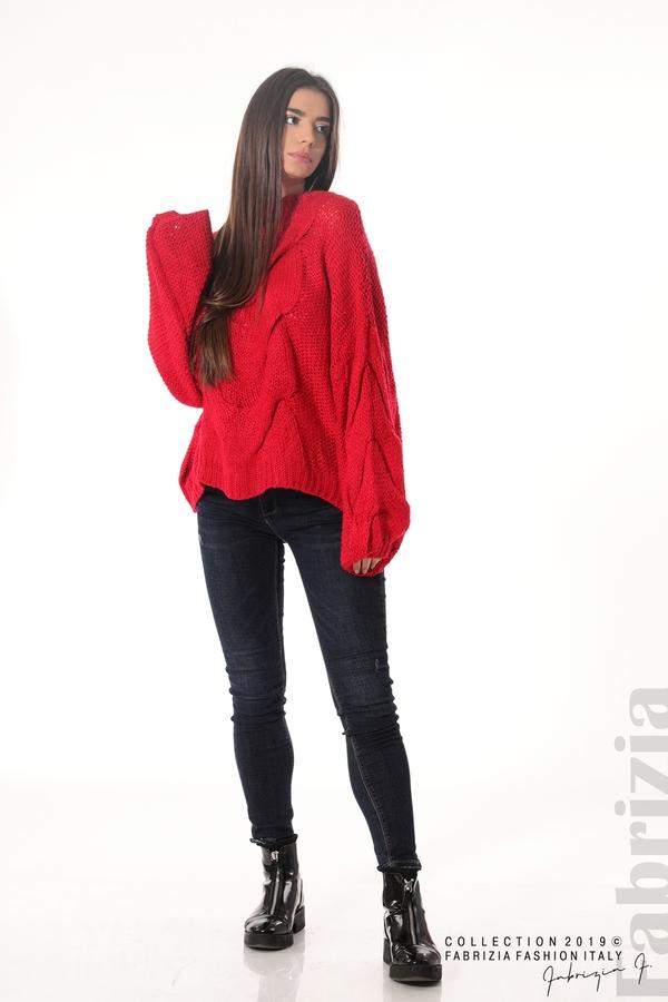 Дамски плетен пуловер червен 4 fabrizia