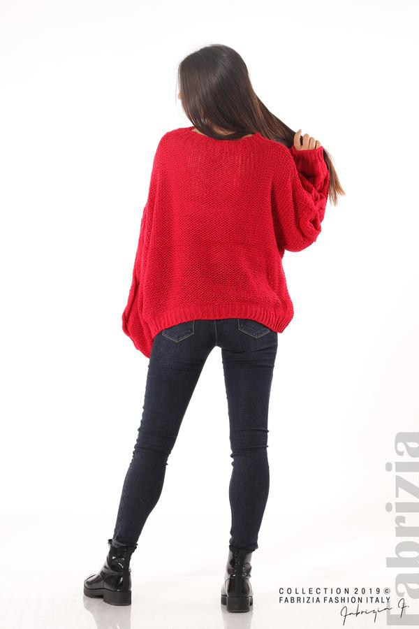 Дамски плетен пуловер червен 5 fabrizia