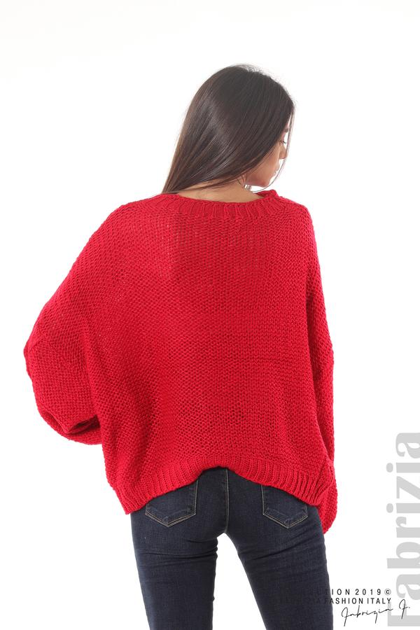 Дамски плетен пуловер червен 6 fabrizia